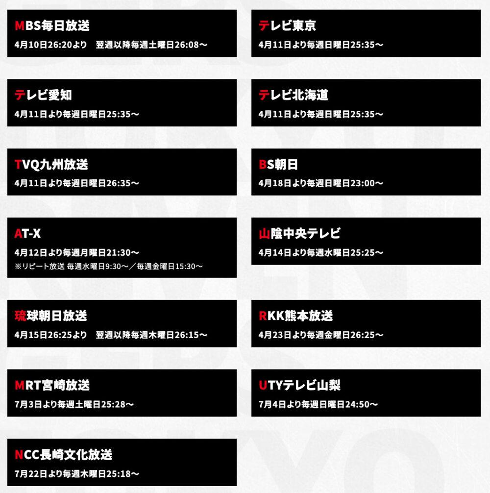 東京リベンジャーズ放送地域
